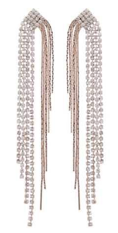 Clip On Earrings - Britt RG - rose gold drop earring with diamante strands