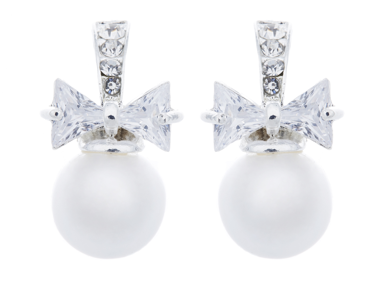Clip On Earrings - Hadley - silver earring with a crystal bow & a pearl