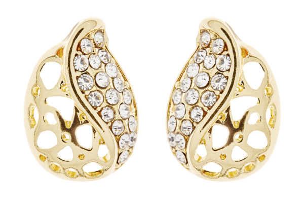 Clip On Earrings - Helga - gold stud earring with crystals