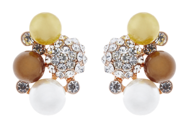 Clip On Earrings - Hilda - gold earring with crystals and coloured pearls