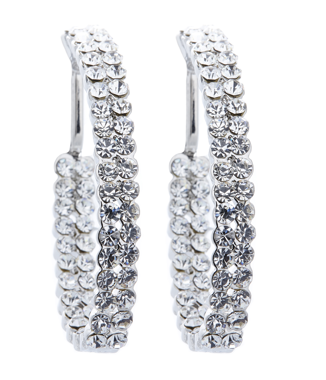 Clip on earrings - Macey - silver hoop earring with clear crystals