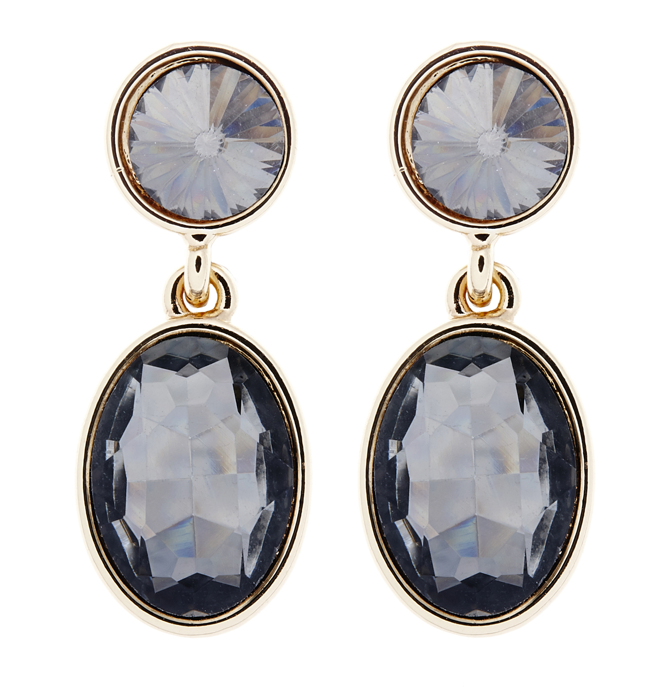 Clip On Earrings - Maddy B - gold drop earring with black crystals