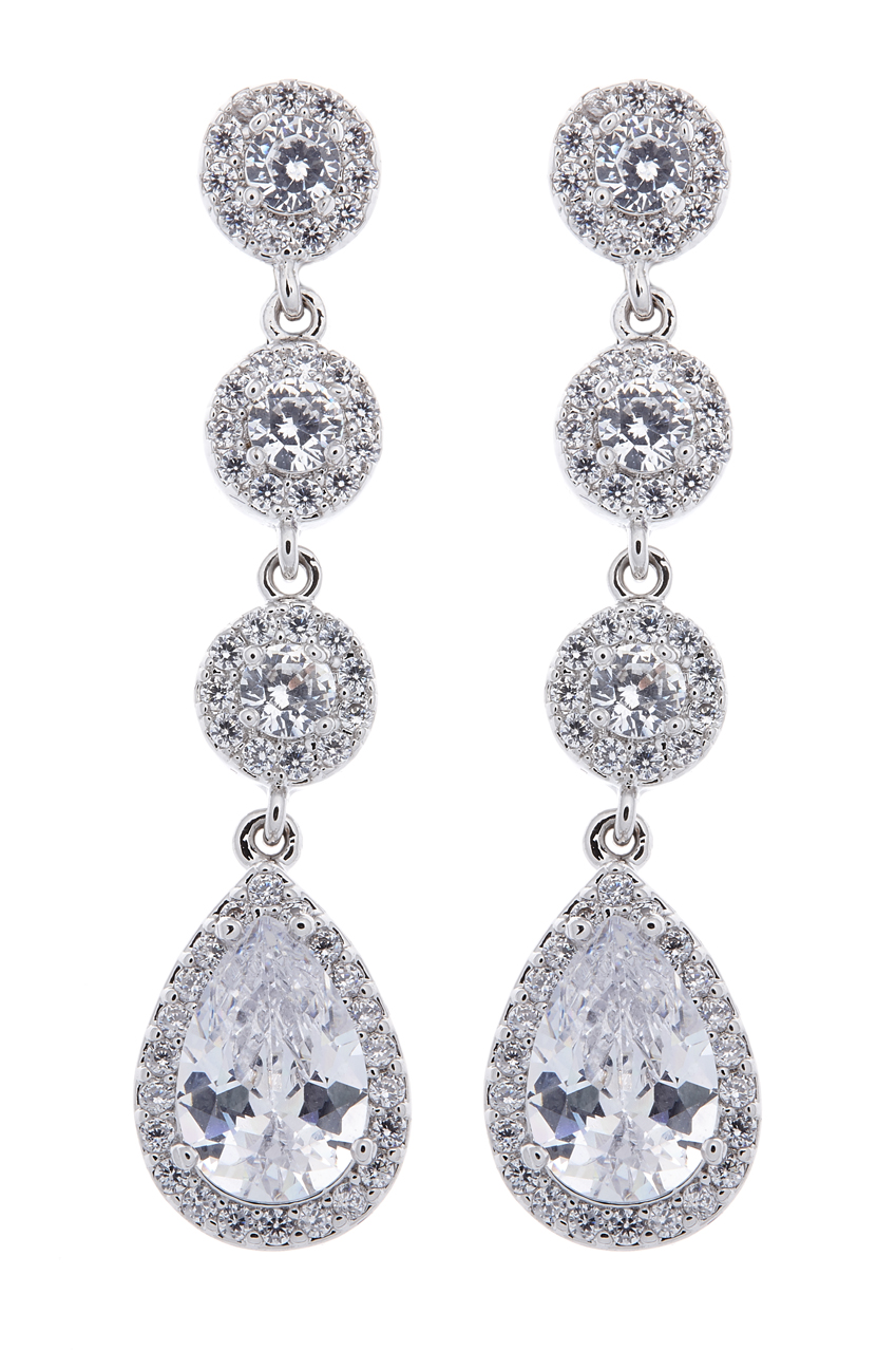 Clip On Earrings - Maria - silver luxury drop earring with cubic zirconia crystals and stones