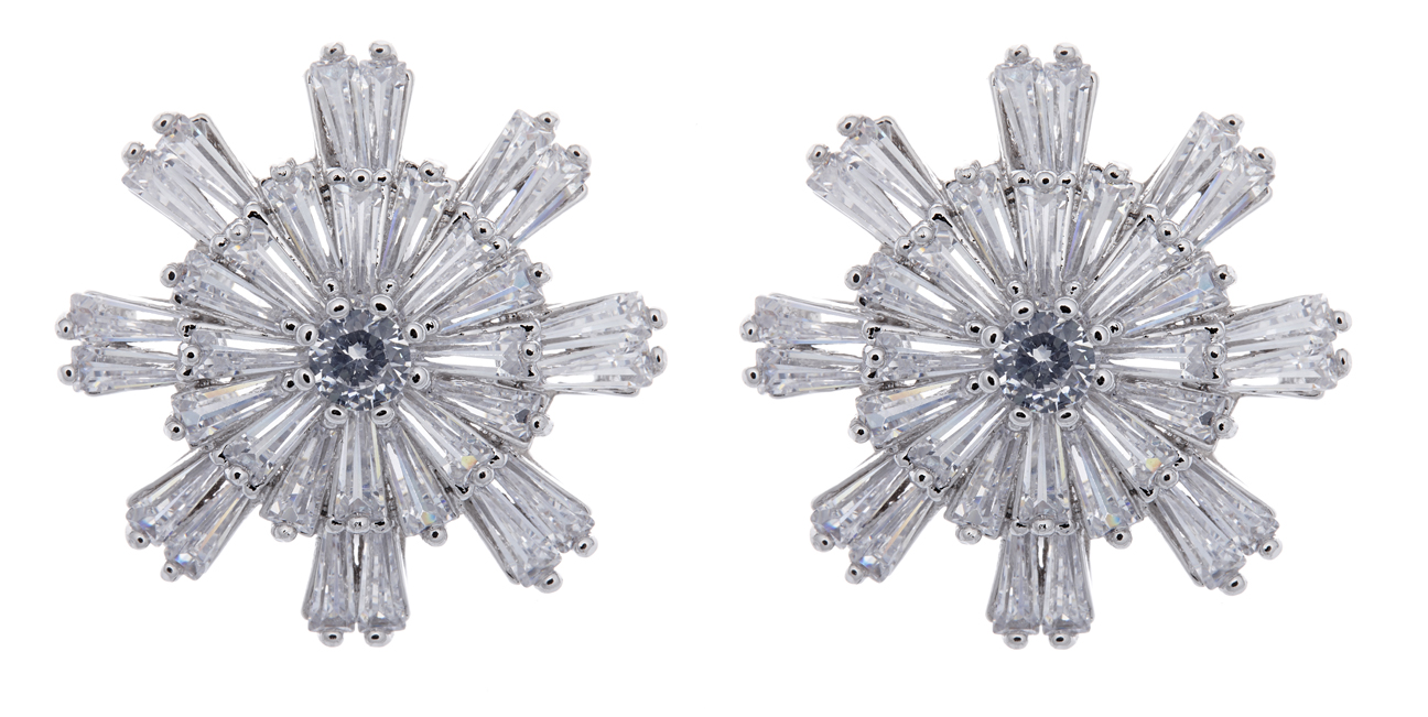 Clip On earrings - Mary - silver earring with cubic zirconia crystals