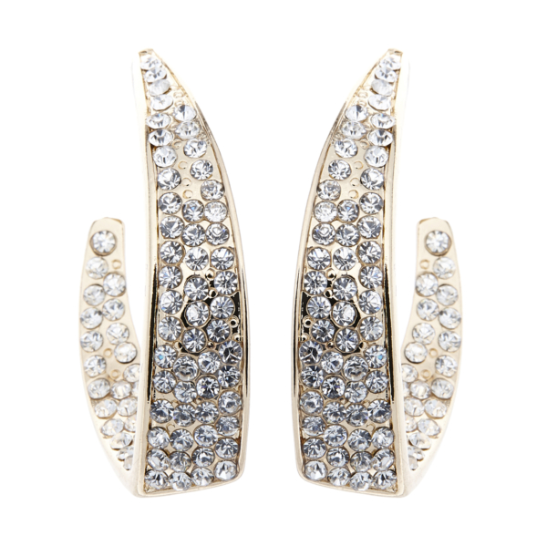 Clip On Earrings - Mila - gold luxury hoop earring with crystals