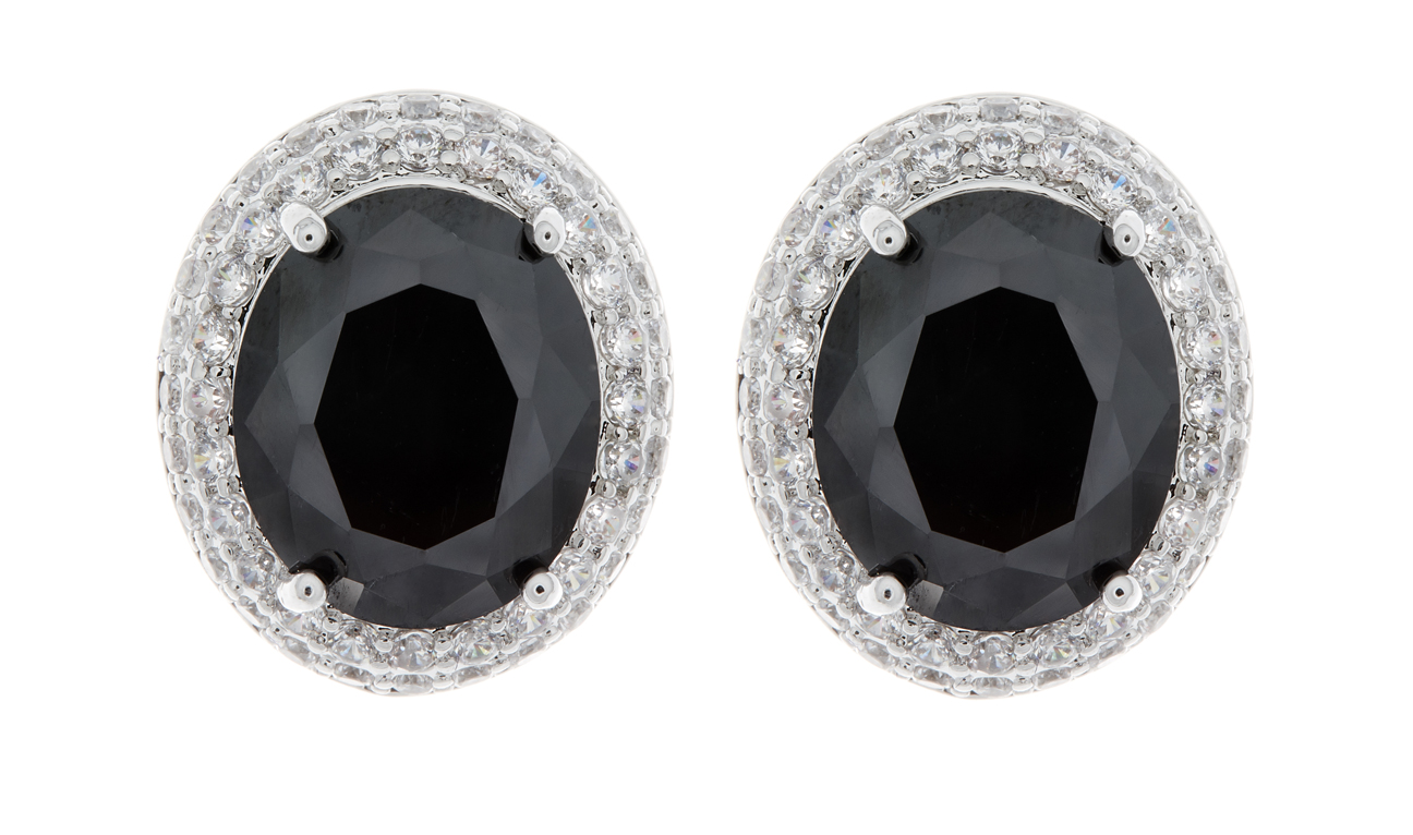 Clip On Earrings - Miley B - silver earring with cubic zirconia crystals and a black stone