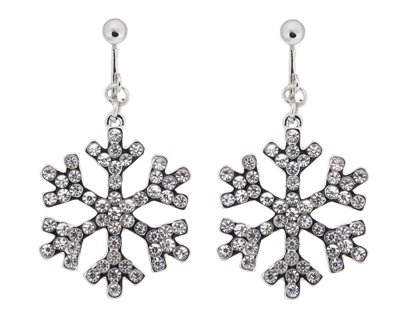 Clip On Earrings - Millie - silver snowflake earring with clear crystals