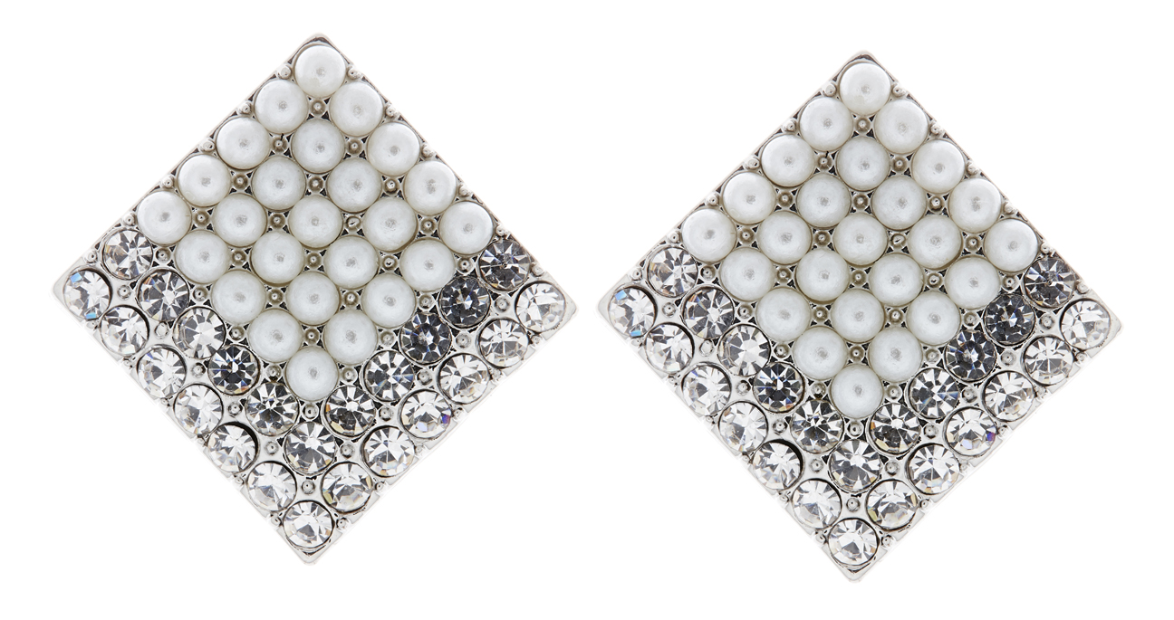 Clip On Earrings - Vanessa - silver pearl earring with clear crystals