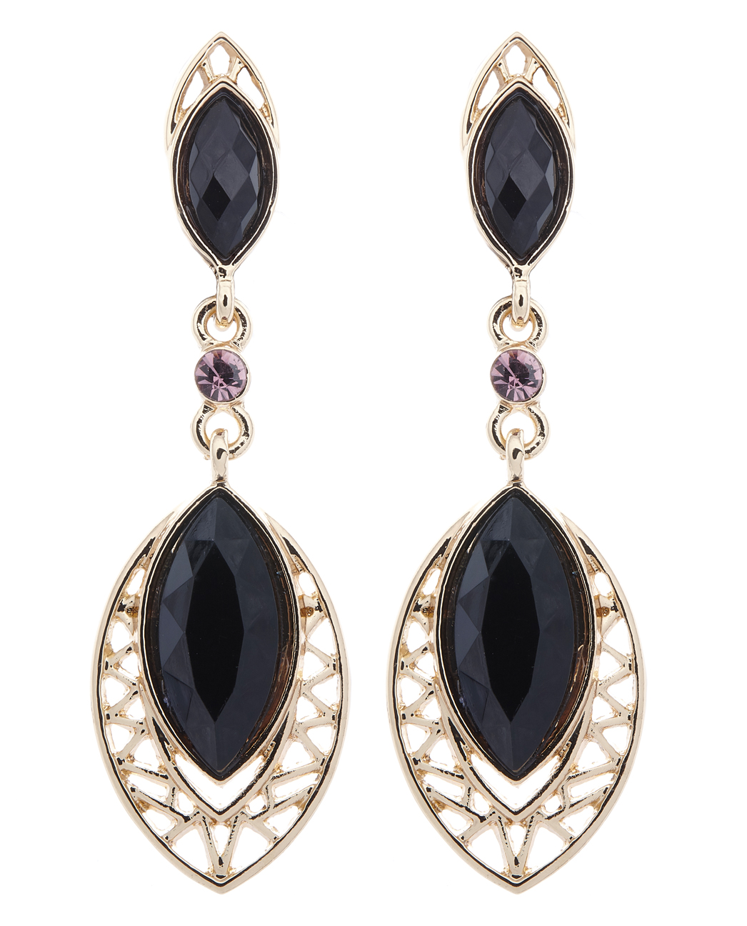 Clip on earrings - Velma - gold drop earring with black stones