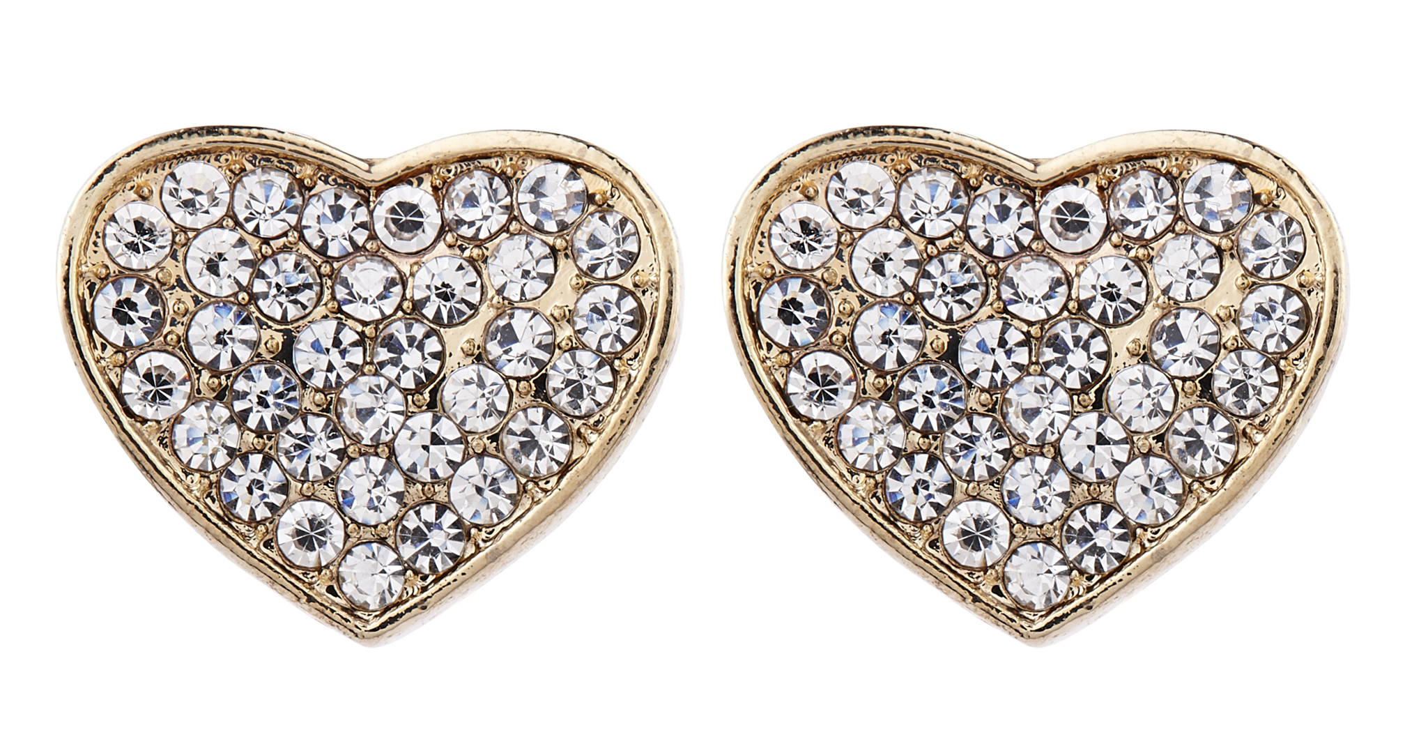 Clip On Earrings - Whitney - gold heart stud earring with crystals