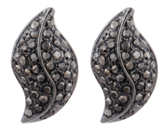 Clip On Earrings - Willow GM - gunmetal stud earring with grey crystals