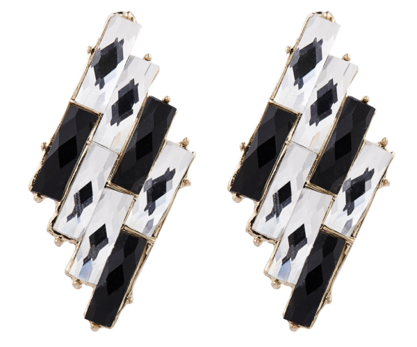 Clip On Earrings - Barbara - gold vintage style stud earring with clear and black stones