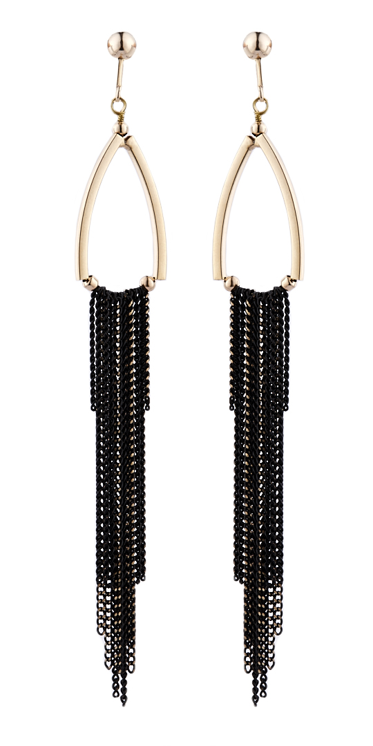Clip On Earrings - Becca - gold drop earring with a black tassel chain fringe
