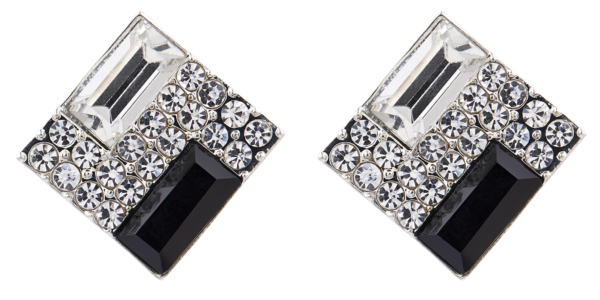 Clip On Earrings - Becky B - silver stud earring with a black stone and clear crystals