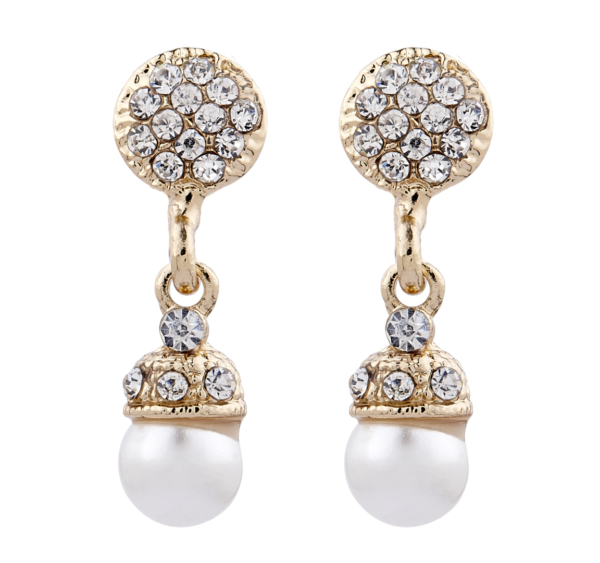Clip On Earrings - Bell G - gold pearl drop earring with clear crystals