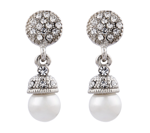 Clip On Earrings - Bell S - silver pearl drop earring with clear crystals