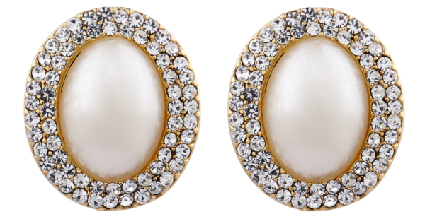 Clip On Earrings - Bertha G - gold vintage style earring with an oval pearl and crystals