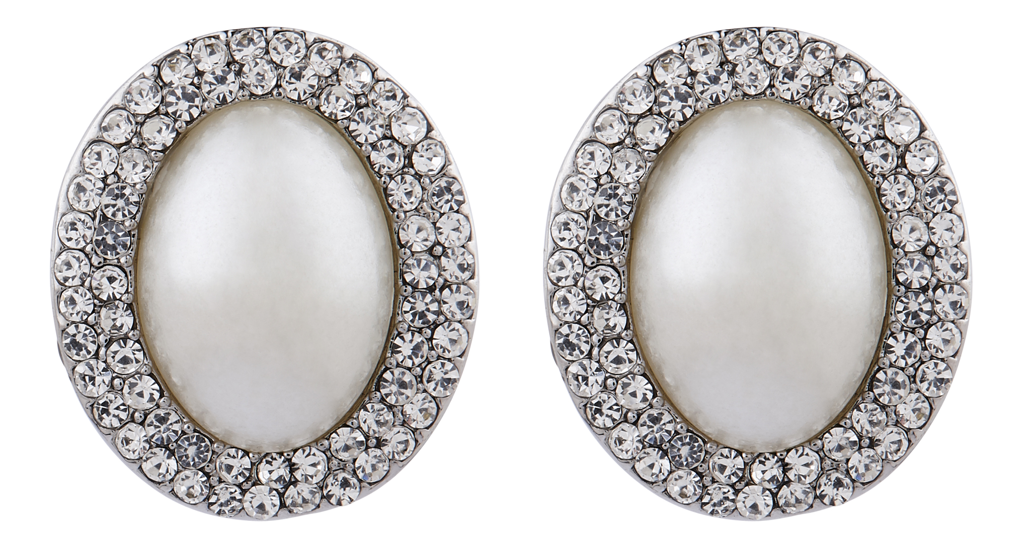 Clip On Earrings - Bertha S - silver vintage style earring with an oval pearl and crystals