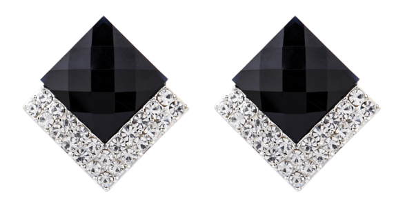 Clip On Earrings - Bess BK - silver stud earring with a black stone and crystals