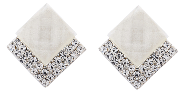 Clip On Earrings - Bess W - silver stud earring with a white stone and crystals