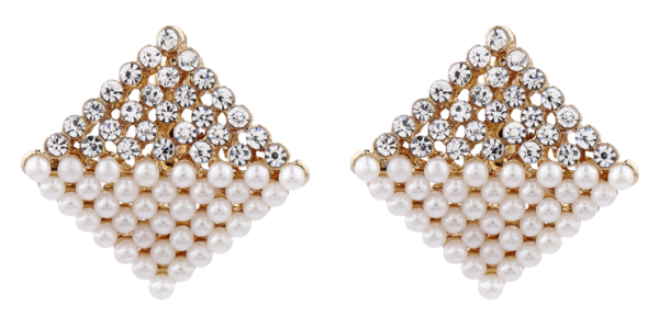 Clip On Earrings - Betsy RG - rose gold stud earring with CZ crystals and pearls