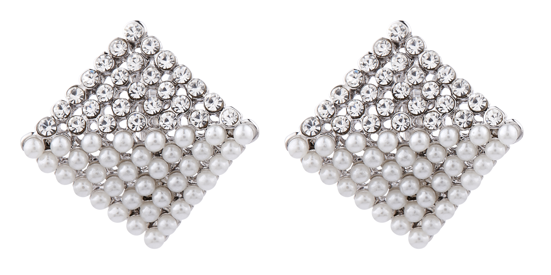 Clip On Earrings - Betsy S - silver stud earring with CZ crystals and pearls