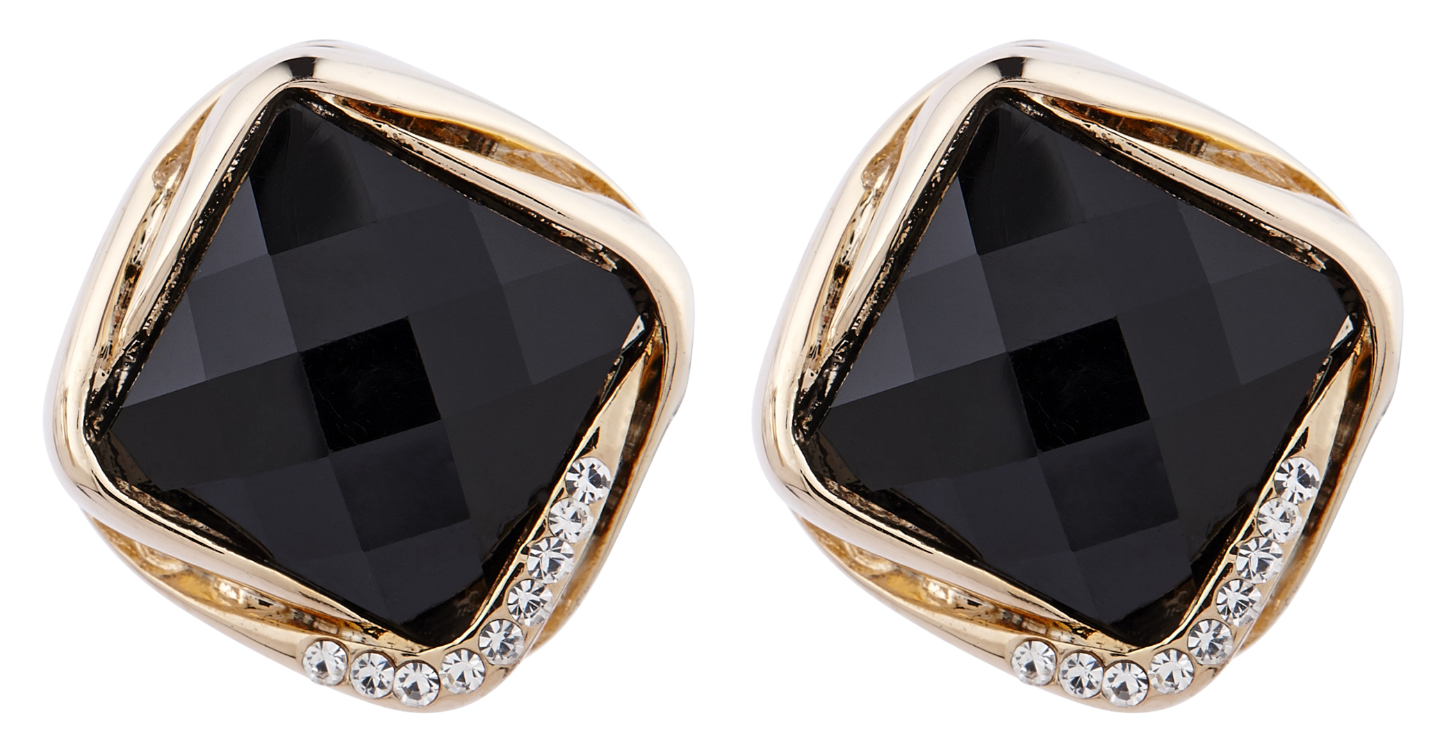 Clip On Earrings - Betty B - gold stud earring with a black stone and crystals