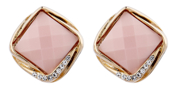 Clip On Earrings - Betty P - gold stud earring with a pink stone and crystals
