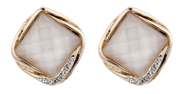 Clip On Earrings - Betty W - gold stud earring with a white stone and crystals