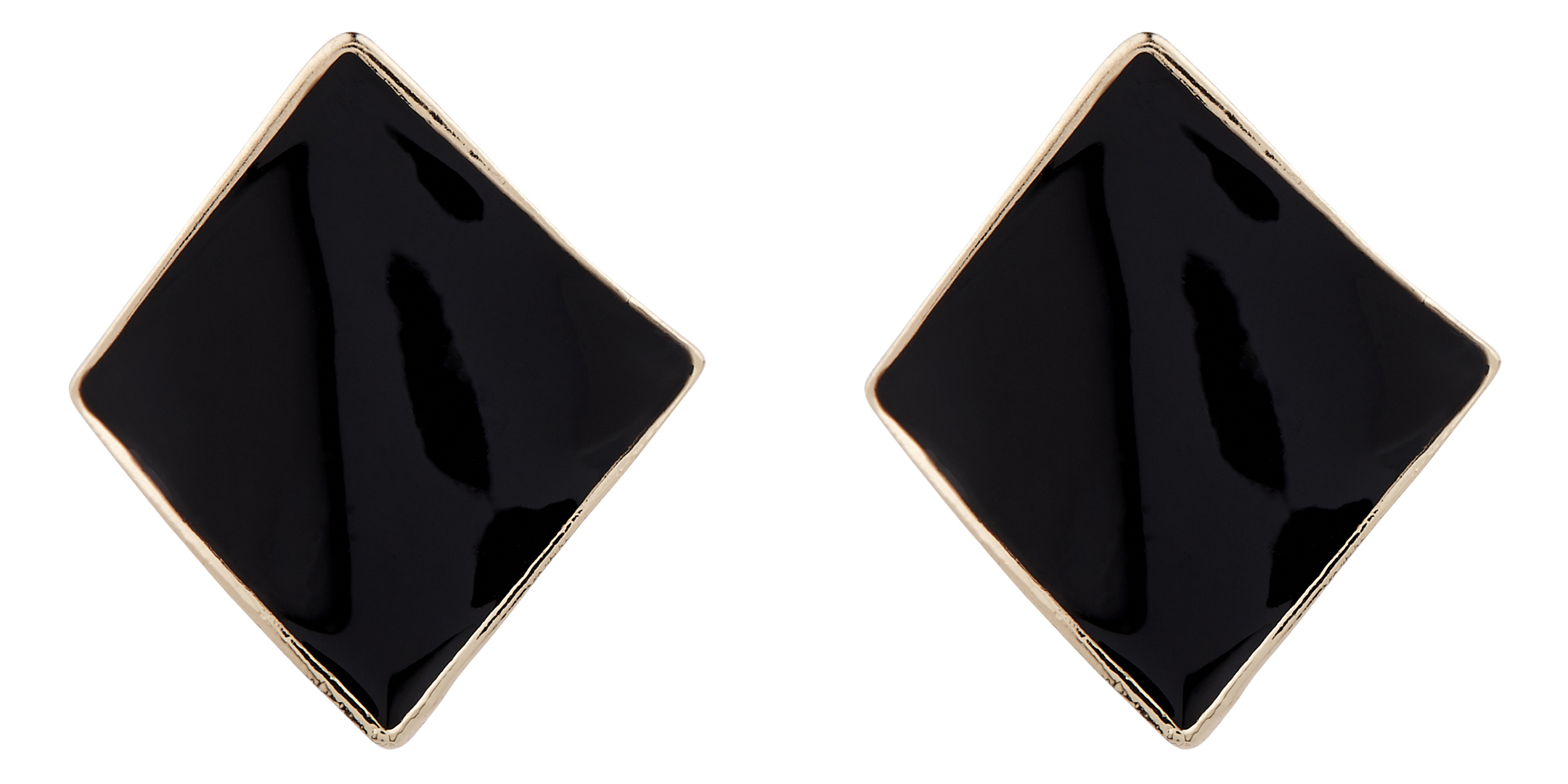 Clip On Earrings - Billie B - gold stud earring with black enamel