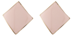 Clip On Earrings - Billie P - gold stud earring with pink enamel