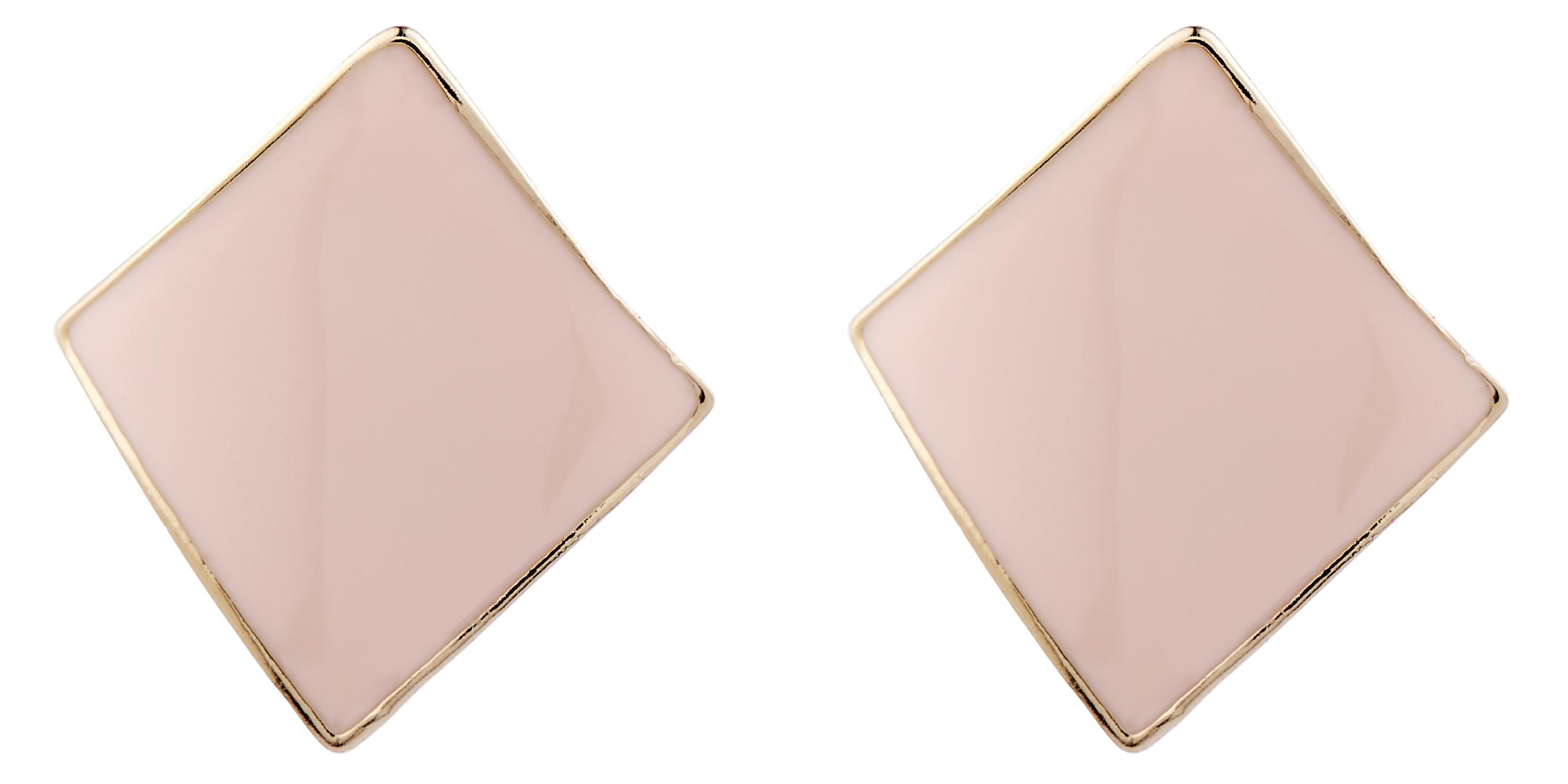 Clip On Earrings - Billie P - gold stud earring with pink enamel