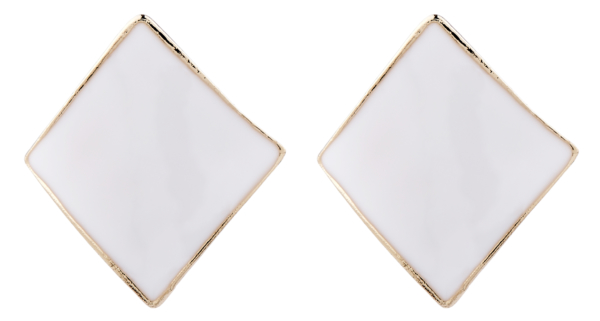 Clip On Earrings - Billie W - gold stud earring with white enamel