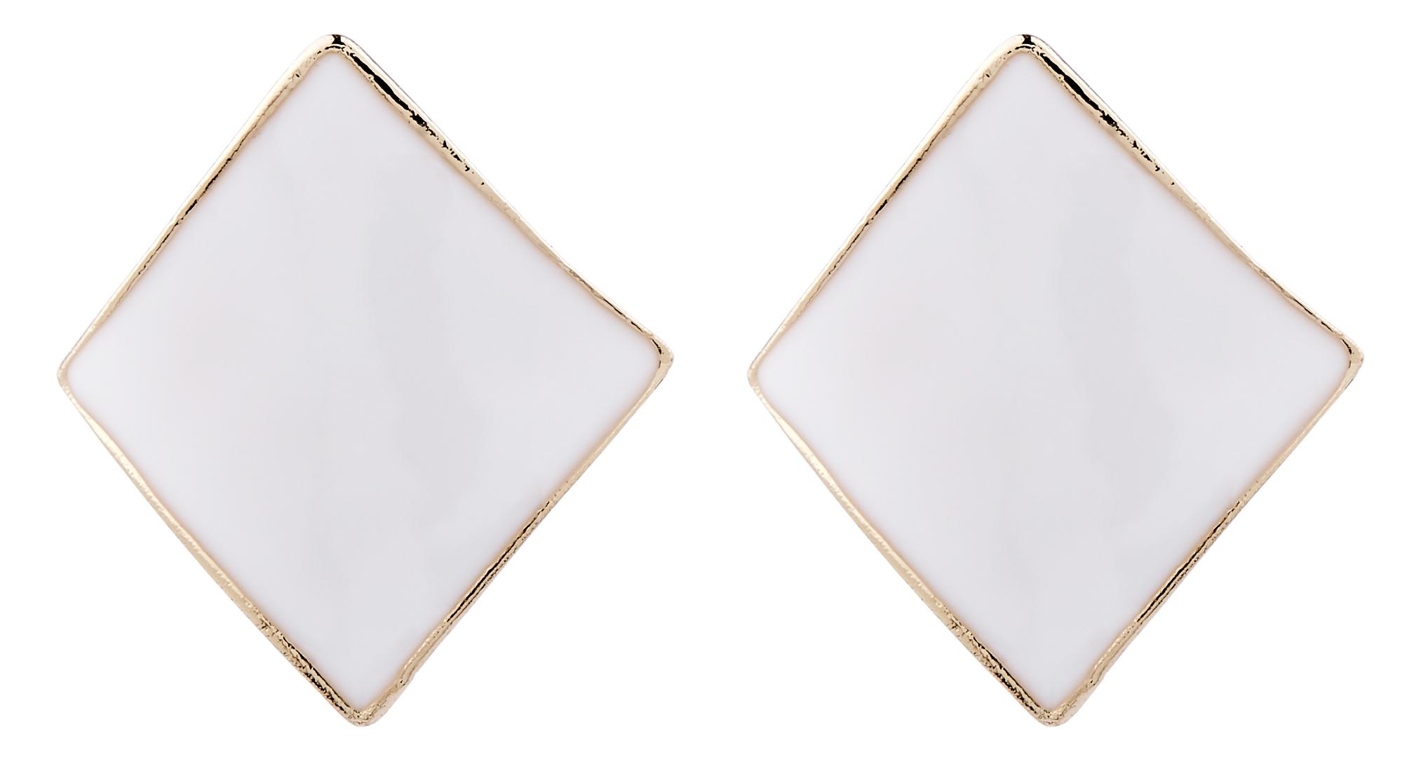 Clip On Earrings - Billie W - gold stud earring with white enamel