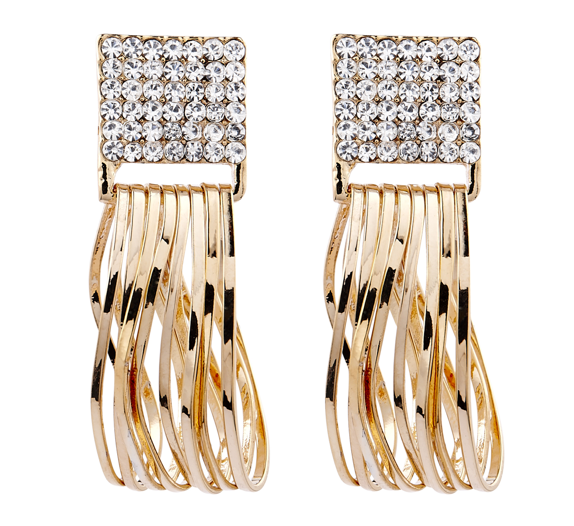 Clip On Earrings - Bria C - gold earring with crystals & drop hoops