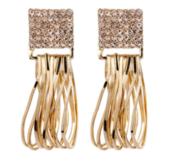 Clip On Earrings - Bria P - gold earring with light pink crystals & drop hoops
