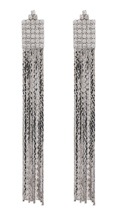 Clip On Earrings - Bridie S - silver earring with sparkly linked chain strands and crystals