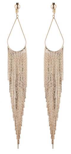 Clip On Earrings - Britney G - gold chandelier earring with long sparkly strands