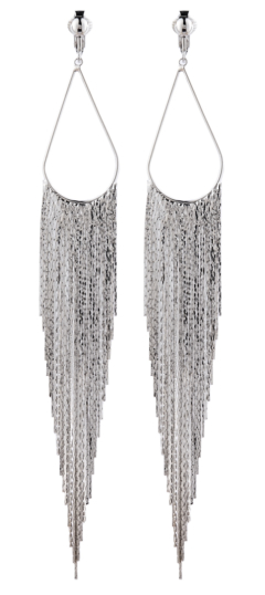 Clip On Earrings - Britney S - silver chandelier earring with long sparkly strands