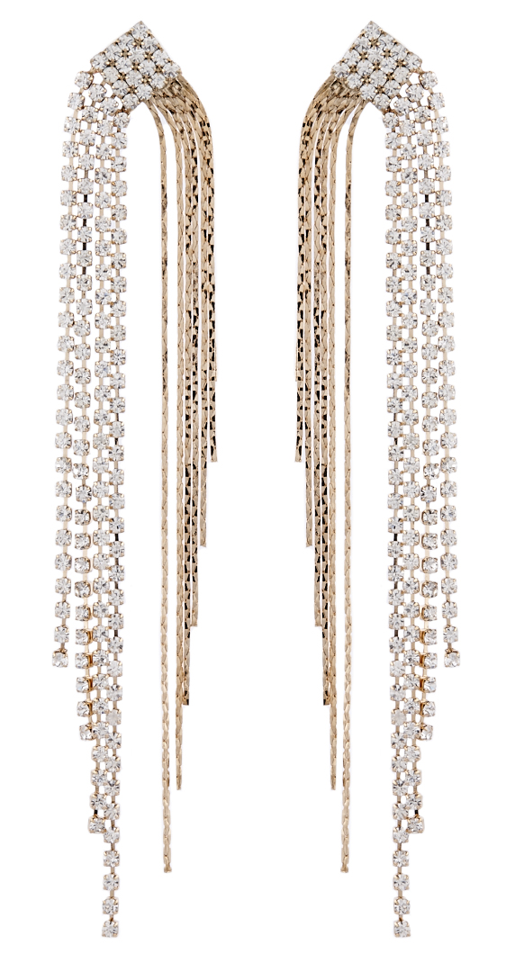 Clip On Earrings - Britt G - gold drop earring with diamante strands