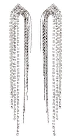 Clip On Earrings - Britt S - silver drop earring with diamante strands