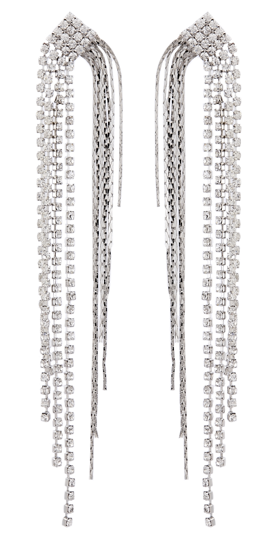 Clip On Earrings - Britt S - silver drop earring with diamante strands