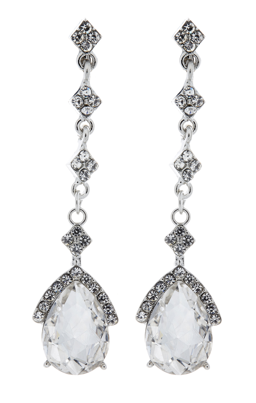 Clip On Earrings - Edith - silver luxury drop earring with a cubic zirconia stone and crystals