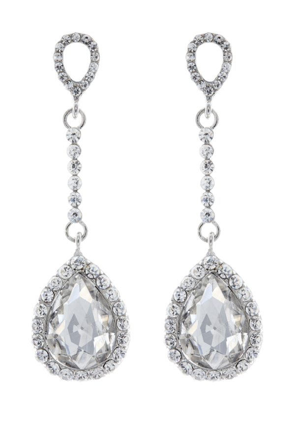 Clip On Earrings - Elisa - silver drop earring with a cubic zirconia stone and crystals