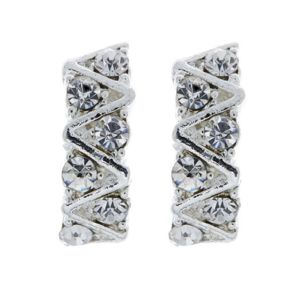 Clip On Earrings - Eliza - silver earring with clear diamante crystals