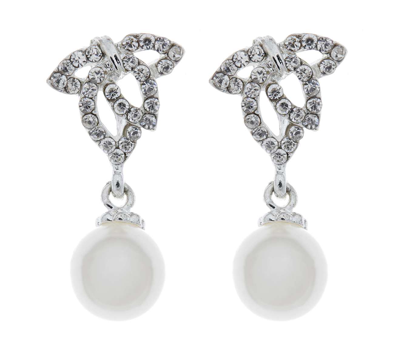 Clip On Earrings - Elle - silver drop earring with clear diamante crystals and a pearl