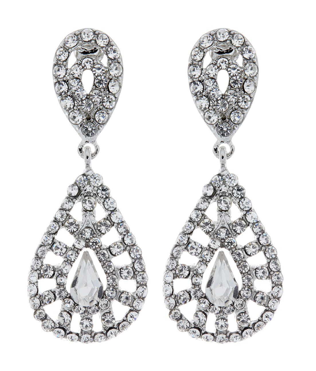 Clip On Earrings - Elsa - silver earring with a clear stone and crystals