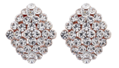Clip On Earrings - Elsie C - gold stud earring with clear crystal diamantes
