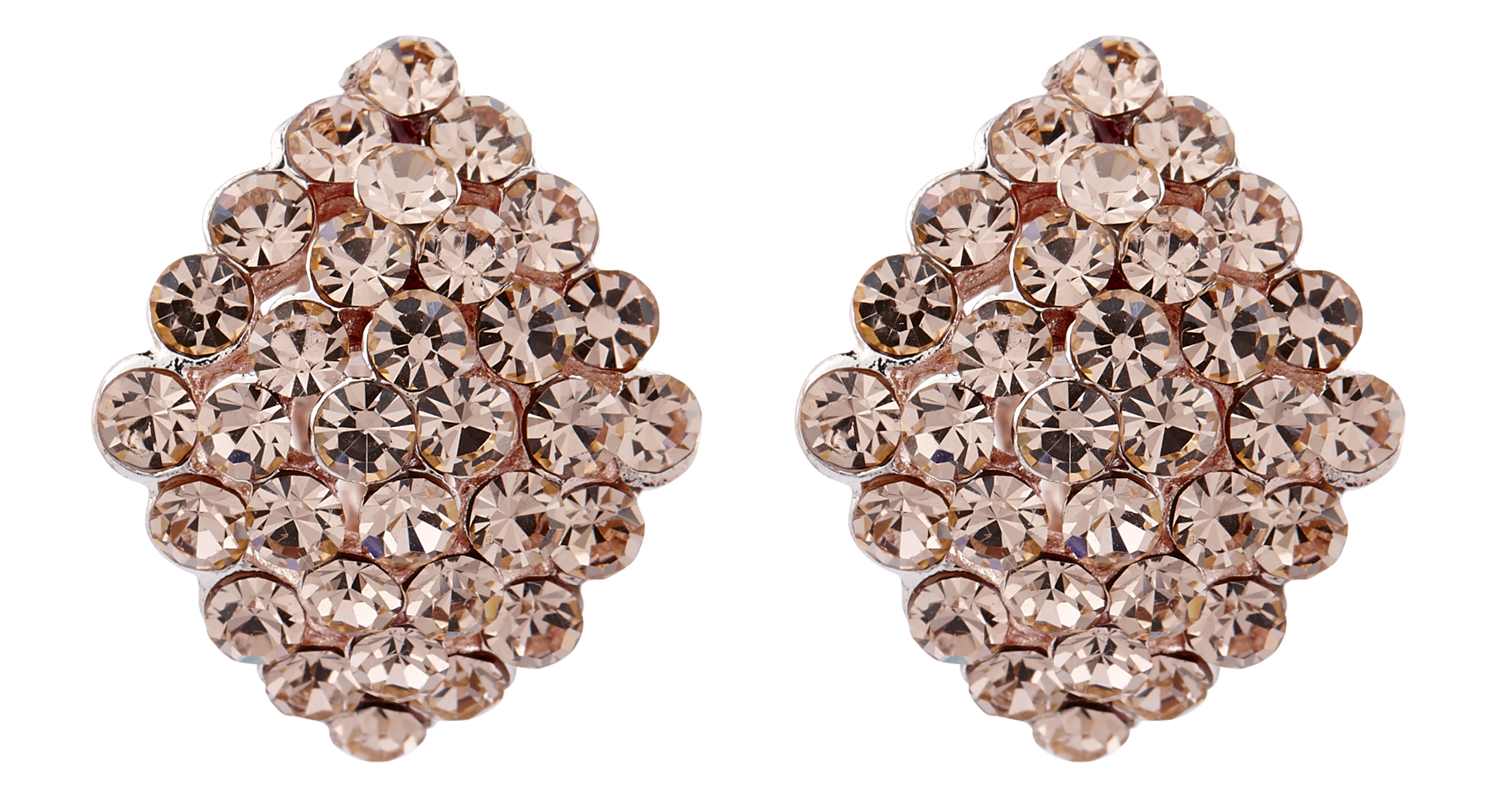 Clip On Earrings - Elsie G - gold stud earring with gold crystal diamantes