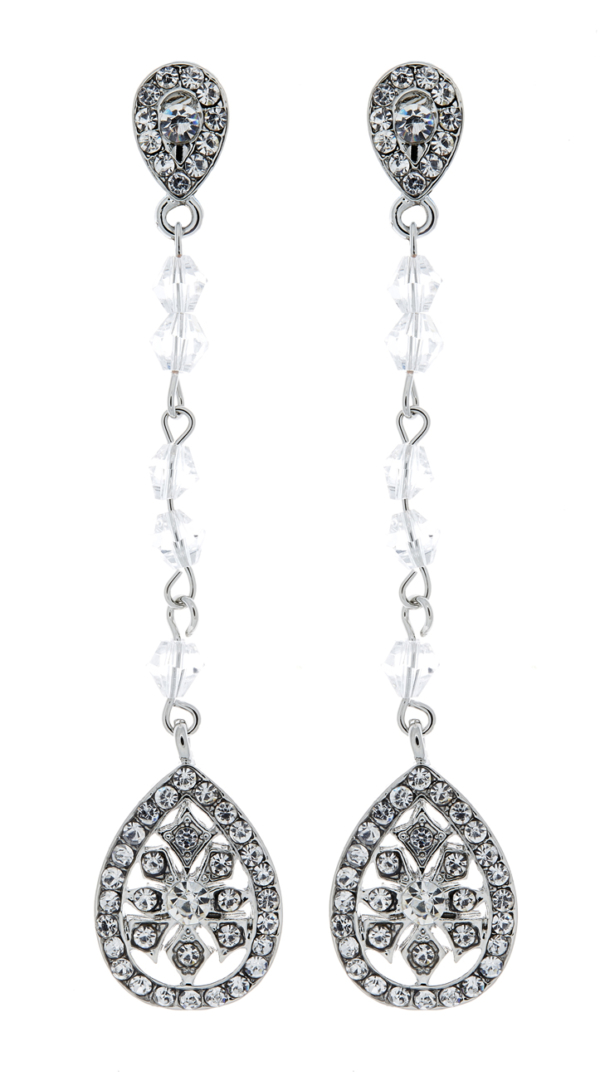 Clip On Earrings - Ember - silver drop earring with a cubic zirconia stone and crystals